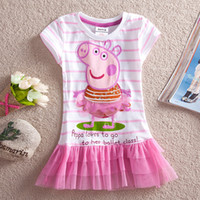 Wholesale Lovely Peppa Pig Cartoon Style Cotton Girl Tutu Dresses Short Sleeve Round Neck Cupcake Short Kids Dresses Y Y LU1 Nova