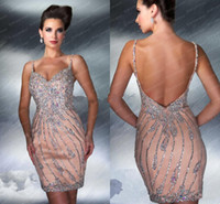 Wholesale 2016 Cocktail dresses New Arrivals Spaghetti Cocktail Dresses Sequins Crystals Satin Mini Short Backless Sheer Prom Dresses