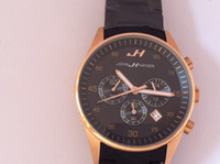 Wholesale DHL JH china watches Chronograph black rubber belt the gold watch case men s stop wristwatches