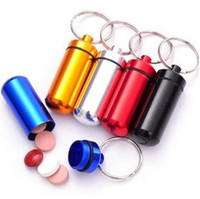 Cheap 10pcs Micro assorted colors Pill box case Cache Container Geocache Geocaching Key rings keychain holder vial 52*14mm