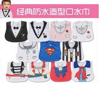 baby tuxedo bib - Retail Baby Bibs Pinafore Tuxedo Infant Burp Cloth Superman Waterproof Newborn Saliva Towel UN3