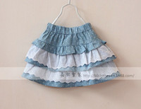 Summer A-Line Knee-Length New Year New Arrival Multi-Layer Cake Girl Lace Skirt Wave Point Pure Cotton Children Short Skirts Kid's Underwear Skirt QZ499