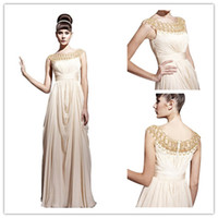 semi formal dress - Beige A Line Bateau Neck Floor Length Chiffon Beading Cap Sleeve Semi Formal Dresses Formal Dinner Dress DL13200021