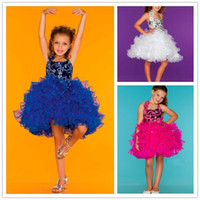 Wholesale Short Pageant Dresses for Girls Sequins Beaded Halter Kids Ball Gowns Ruffled Tulle Skirt Baby Cupcake Pageant Dress Formal Dresses for Kids