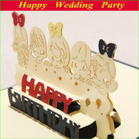 Wholesale 3D Lovely Children Birthday Cards Handmade Greeting Cards Birthday Favor Gifts