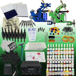 Wholesale UPS Tattoo Kit Machine Gun Color Ink Power Supply Needles Set Equipment