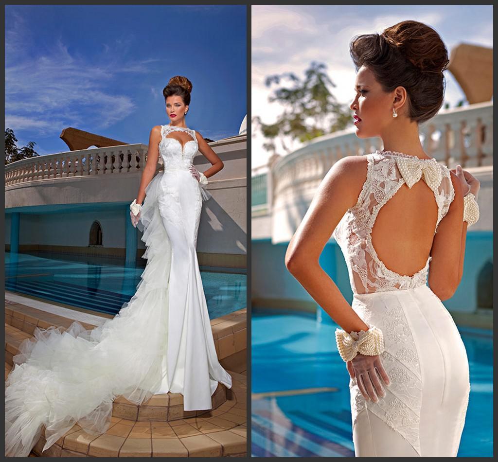 2015 Sheer Sleeves Fashional Mermaid Applique White Satin