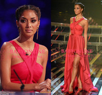 Wholesale Nicole Scherzinger Red Halter Chiffon Hi Lo On The X Factor Celebrity Dresses Red Carpet Summer Prom Evening Gowns BO3713
