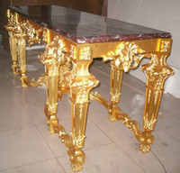 Wholesale Luxury Gold plated antique brass table with marble top home decorations coffee table brass amp marble dinning table