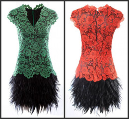 2014 Sexy Fashion Red Green V-neck Lace Appliques Cap Sleeves Short Feather Party Cocktail Dresses Christmas Party New Year Prom Gowns