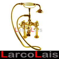 Wholesale Solid Brass Ti PVD Tianium Golden Phone Style Bathtub Bathroom Bath Shower Faucet Tub Hand Shower Mixer Tap