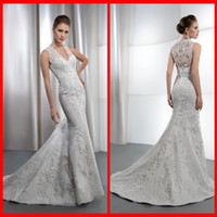 Trumpet/Mermaid Model Pictures V-Neck Sexy V Neck Memaid White Lace Demetrios Wedding Dresses With Appliques For Bridal Gowns