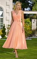Reference Images chiffon tea length bridesmaid dresses - 2014 Modern A Line V Neck Tea Length Pleats Ribbon Bow Coral Chiffon Formal Bridesmaid Dresses with Beaded Straps