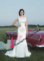 Cheap Free Shipping High Neckline pleated cummerbund charmeuse mermaid Pin Up Open Back Wedding Dresses Bridal Gown vestidos de novia
