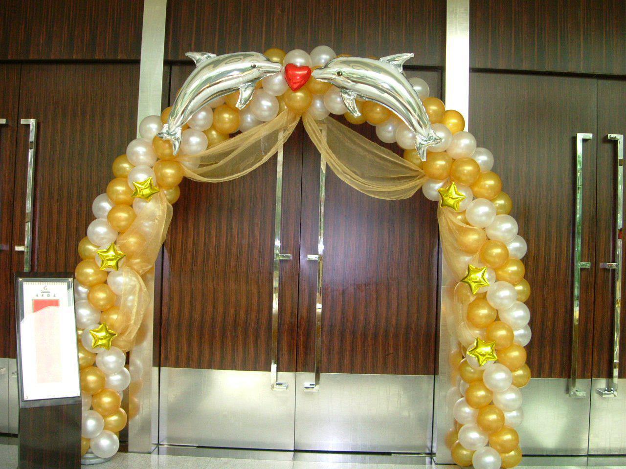 Al por mayor , El oro, la plata delfín arco profesional de decoración con globos. comercial de cumpleaños, de boda en globo