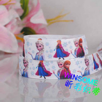Wholesale 10yards quot mm Frozen princess girl printed ribbon packing DIY cartoon polyester grosgrain ribbon