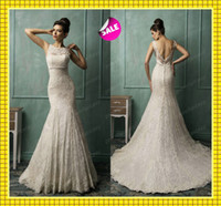 2014 Sheer Lace Crew Neck Elegant Mermaid Wedding Dresses Se...