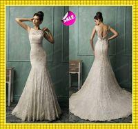 2014 Sheer Lace Crew Neck Elegant Mermaid Wedding Dresses Se...