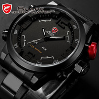 Wholesale New Brand Name SHARK Digital LED Stainless Full Steel Black White Date Day Alarm Analog Military Men s Sport Quartz Watch SH108