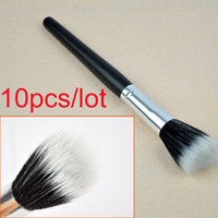 Individual Makup brush powder brush - 10pcs New cheap Black single Makeup Cosmetic Fiber Foundation Stipple Powder Brushes