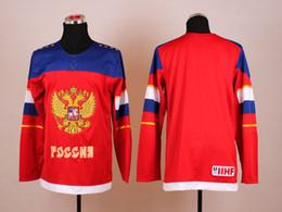 2014 Olympic Hockey Jerseys Team Russia Rojo blanco Olímpico de Hockey Jerseys Marca de calidad superior de deporte orden de la mezcla de la nueva venta caliente de la llegada russia olympic jersey promotion desde maillot olímpico rusia proveedores