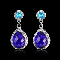 925 sterling silver earbob blue topaz gemstone Earring jewel...