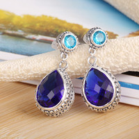 925 sterling silver jewelry Swiss blue topaz gemstone Earrin...