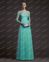 Wholesale 2014 New Arrival Prom Dresses Modest Sexy A Line Mint Green Lace Tulle long Sleeve Evening Dresses PU8504