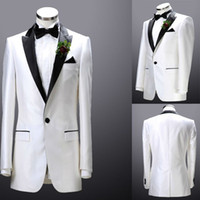 Actual Images Wool Blend Autumn/Spring Custom made White groom tuxedos Shawl Collar One Button Color butyl process groom suits Free shipping 2014 New wedding suits for man