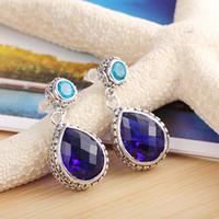 gemstone earrings - 5 piece sterling silver jewelry Swiss blue topaz gemstone Earring jewelry LE0485
