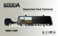1 channel 1.5 1280x720 6000A Rearview Mirror Car DVR HD 1920x1080p Rear view camera 720P H.264 Dual Cameras wtih G-sensor GPS PIP function Freeshipping