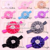 Headbands beaded hair color - 4Inch Chiffon Beaded Flower Headband Matching Sparking Rhinestone Nylon Elastic Baby Girl Flower Hair Band Trail Order