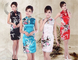 Wholesale wedding cheongsam dress vintage flower printed Qipao Cheongsam Dress Chinese traditional dress for women color JY055