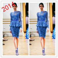 Reference Images Bateau/Jewel Chiffon 2014 New Bateau Column Blue Lace Appliqued Beading Peplum Long Sleeves Knee Length Cocktail Dresses Short Evening Gown Zuhair Murad 1310