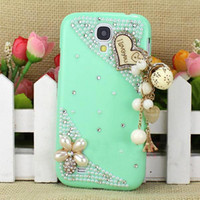 Wholesale Covers For Galaxy S4 Wood - S5Q Fashion Cute Heart Crystal Wood Hard Cover Case For Samsung Galaxy S4 SIV I9500 AAACIT