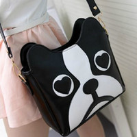 Women animal packet - Black and white wave packet collision color messenger bag shoulder bag retro fashion cartoon cute sweet little dog pack