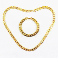 Wholesale 10MM New Fashion Jewelry Sets K Gold Plated Designer Chain Necklace Bracelets Jewelry Accessories For Men sets JS117