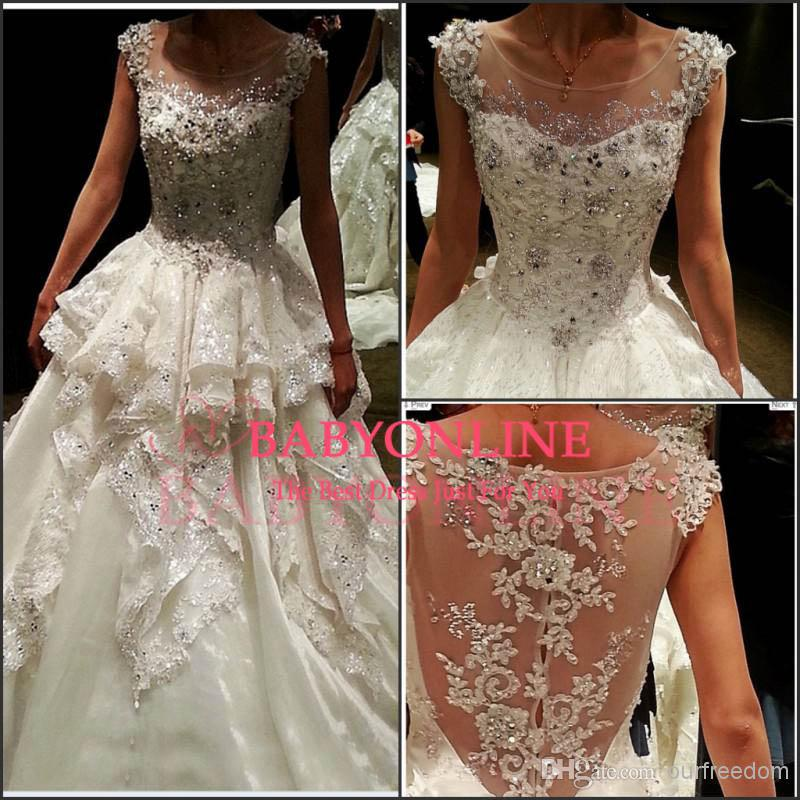 Discount Sexy Luxury Bling Lace Crystals A Line Wedding Dresses ...