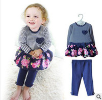Wholesale New Toddlers Spring Cotton Set Lace Striped T shirt And Plain Pants Pieces Set Baby Girls Floral Suit