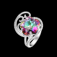 Mystic Topaz 925 sterling Silver jewelry Rings R0371