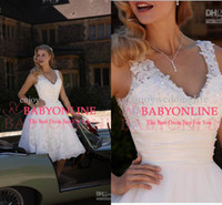 Wholesale 2014 Vintage V Neck Beaded Lace Satin A Line Mini Short Backless Cheap Lace Wedding dresses Summer Beach Bridal Gown with Tea Length BO3625