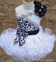 Wholesale 2014 New Glitz Pageant Dresses for Girls Toddler One shoulder Black and White Organza Beaded with Handmade Flowers