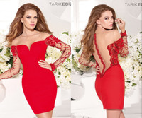 Reference Images Crew as the picture Crew Sheath Mini Red Cocktail Dresses 2014 Sheer Back and Neckline Long Sleeves Beaded Short Party Formal Dresses Tarik Ediz Summer Spring