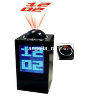 Wholesale HSD128A Rotatable Projector LED Alarm Clock Time Calendar Temperature Colourful Backlight Black
