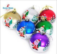 Wholesale 30pcs Christmas tree ornaments cm printed xmas tree Christmas ball h166 mixed colors