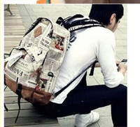 Wholesale Women Men Newspaper Design Restoring Ancient Ways Backpack Individuality Leisure Fashion Bags Handbag L493