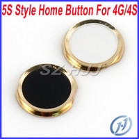 Black and White iPhone 4 4G 4s 5S like style button 5S Style Home Button Key for iPhone 4 4G GSM 4S with Metal Ring Black and White Free Shipping