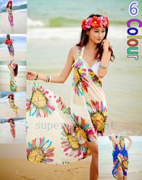 Wholesale 18 Colour Sarongs Summer Women s Sexy Bohemian Beach Strap Dress Women s Beach wear Cover Ups Swimwears Sarong Shawl