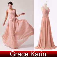 Wholesale Hot Sale Elegant Long Bridesmaid Dresses Pleated Chiffon V Neck A Line Skirt Formal Evening Gowns CL6010