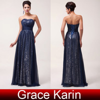 Model Pictures grace karin - Grace Karin Sexy Strapless Floor Length Chiffon Evening Gowns A Line Sequins Prom Dresses Navy Blue CL6005
